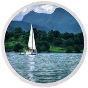 Sailing The Lakes Round Beach Towel