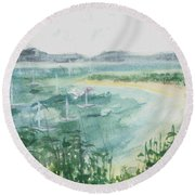 Round Beach Towel featuring the painting Sailing The South Of France by Reed Novotny