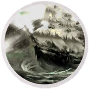 Sailing The Stormy Seas Round Beach Towel