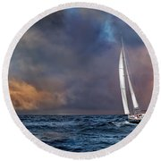 Sailing The Wine Dark Sea Round Beach Towel