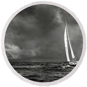 Sailing The Wine Dark Sea In Black And White Round Beach Towel