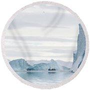 Sailing Through  The Icefjord Round Beach Towel