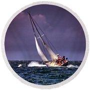 Sailing To Nantucket 001 Round Beach Towel