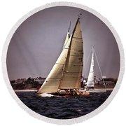Sailing To Nantucket 005 Round Beach Towel