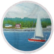 Sailing To New Harbor Round Beach Towel