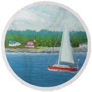 Sailing To New Harbor Round Beach Towel