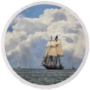 Round Beach Towel featuring the photograph Sailing To Port by Dale Kincaid