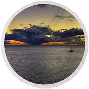 Sailing To Sunset Round Beach Towel