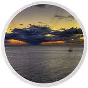 Sailing To Sunset Round Beach Towel