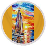 Sailing Towards My Dreams Round Beach Towel
