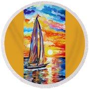 Sailing Towards My Dreams Round Beach Towel