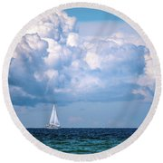 Sailing Under The Clouds Round Beach Towel