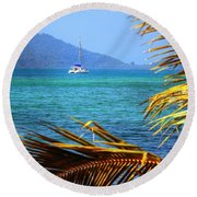 Round Beach Towel featuring the photograph Sailing Vacation by Alexey Stiop