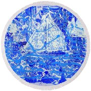 Round Beach Towel featuring the painting Sailing With Friends by J R Seymour