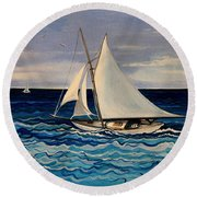 Sailing With The Waves Round Beach Towel
