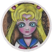 Sailor Moon Round Beach Towel by Abril Andrade Griffith