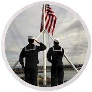 Sailors Raise The National Ensign Round Beach Towel by Stocktrek Images