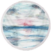 Round Beach Towel featuring the painting Sailors Warning by Reed Novotny