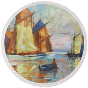 Sails 1 Round Beach Towel