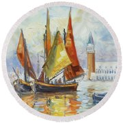 Sails 10 - Venice San Marco Round Beach Towel