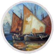 Sails 2 - Venice Round Beach Towel