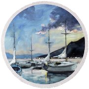 Sails 4 - Lake Como Round Beach Towel