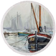 Sails 5 - Dutch Canal Round Beach Towel