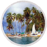 Sails And Palms Round Beach Towel