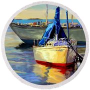 Round Beach Towel featuring the painting Sails At Rest by David  Van Hulst