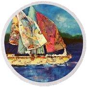 Sails Away Round Beach Towel