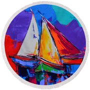 Round Beach Towel featuring the painting Sails Colors by Elise Palmigiani
