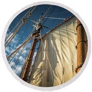 Sails In The Breeze Round Beach Towel