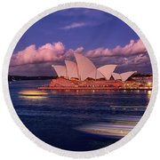 Round Beach Towel featuring the photograph Sails In The Clouds By Kaye Menner by Kaye Menner
