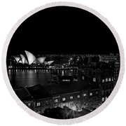 Sails In The Night Round Beach Towel