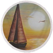 Round Beach Towel featuring the painting Sails In The Sunset by Debbie Baker