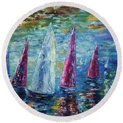 Sails To-night Round Beach Towel
