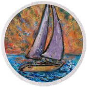 Round Beach Towel featuring the painting Sails Up by Xueling Zou
