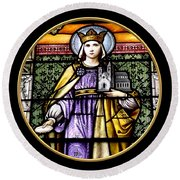 Saint Adelaide Stained Glass Window In The Round Round Beach Towel