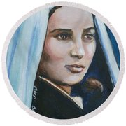 Saint Bernadette Soubirous Round Beach Towel by Bryan Bustard