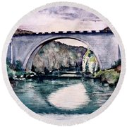 Round Beach Towel featuring the painting Saint Bridge by Geni Gorani