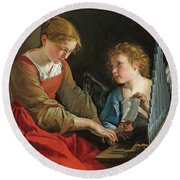 Saint Cecilia And An Angel Round Beach Towel