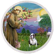 Saint Francis Blesses A Brown And White English Bulldog Round Beach Towel