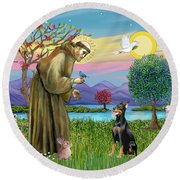 Saint Francis Blesses A Doberman Round Beach Towel