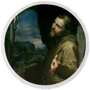 Round Beach Towel featuring the painting Saint Francis by Federico Barocci