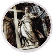 Saint Helena Statue Inside Saint Peter S Basilica Rome Italy Round Beach Towel