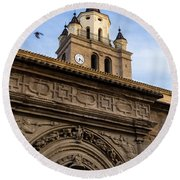 Round Beach Towel featuring the photograph Saint Hieronymus Facade Of Calahorra Cathedral by RicardMN Photography