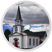 Round Beach Towel featuring the photograph Saint James Episcopal Church 001 by George Bostian