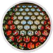 Saint John's University Abbey Stained Glass Magic Round Beach Towel