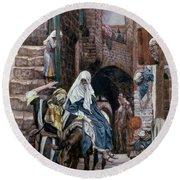 Saint Joseph Seeks Lodging In Bethlehem Round Beach Towel by Tissot
