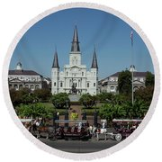 Saint Lewis Cathedral French Quarter New Orleans, La Round Beach Towel